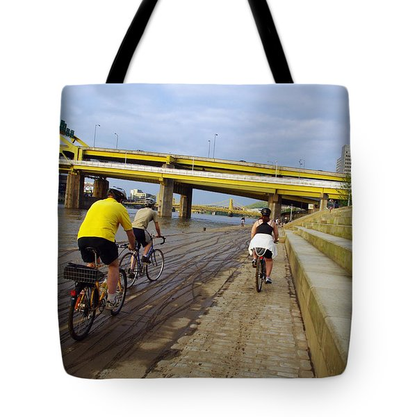 Cyclist In Point State Park Tote Bag