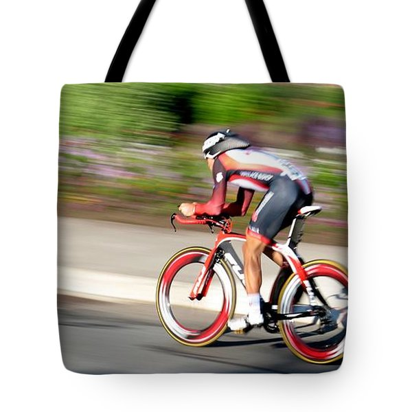 Tote Bag featuring the photograph Cyclist Time Trial by Kevin Desrosiers