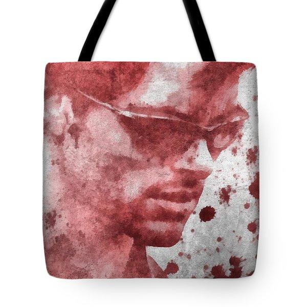 Cyclops X Men Paint Splatter Tote Bag by Dan Sproul