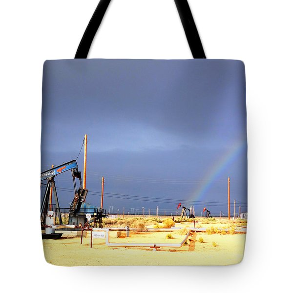 Tote Bag featuring the photograph Cymric Field Rainbow by Lanita Williams
