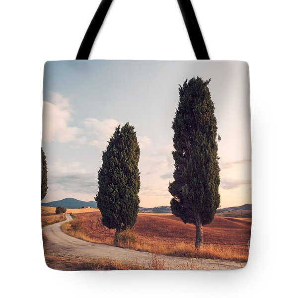 Cypress Lined Road In Tuscany Tote Bag by Matteo Colombo