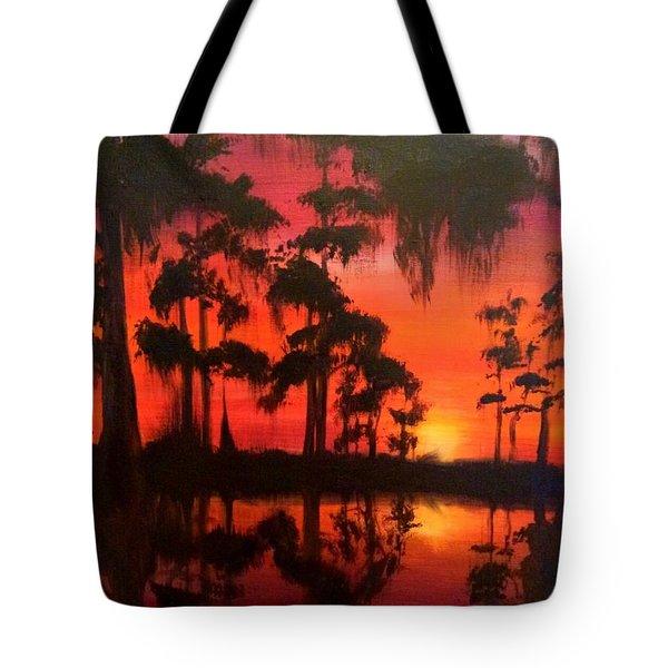 Cypress Swamp At Sunset Tote Bag