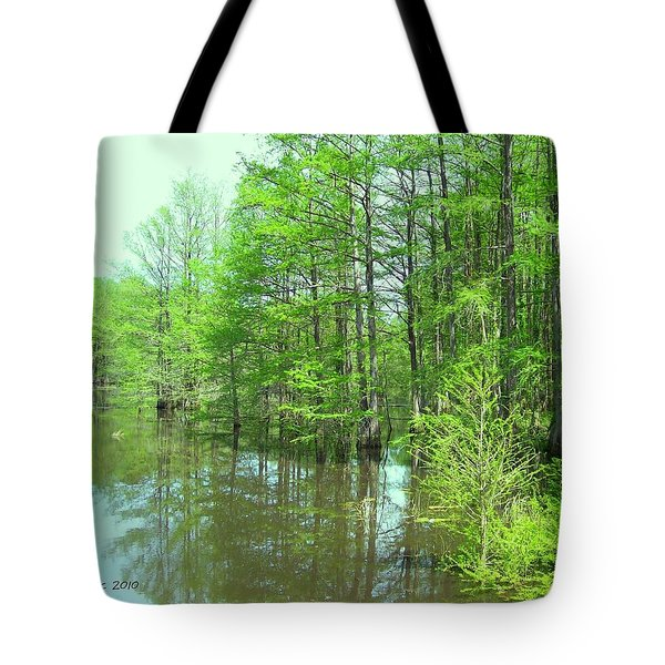 Tote Bag featuring the photograph Bright Green Cypress Trees Reflection by Belinda Lee