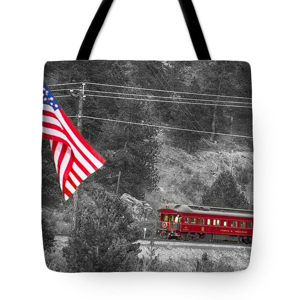 Cyrus K. Holliday Rail Car And Usa Flag Bwsc Tote Bag by James BO  Insogna
