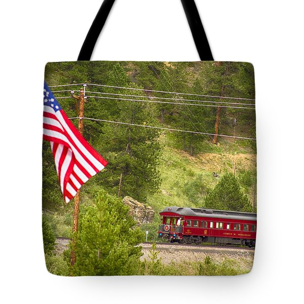 Cyrus K. Holliday Rail Car And Usa Flag Tote Bag by James BO  Insogna
