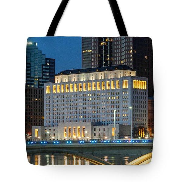 D2l496 Columbus Ohio Night Skyline  Tote Bag