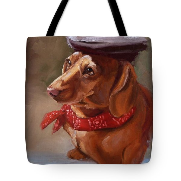 Dachshund Artist Dog With French Hat Tote Bag