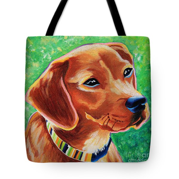 Dachshund Beagle Mixed Breed Dog Portrait Tote Bag