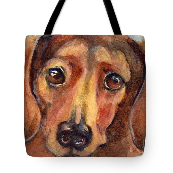 Dachshund Watercolor Tote Bag by Maria's Watercolor