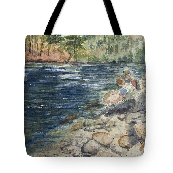 Dad And Son Gearing Up Tote Bag