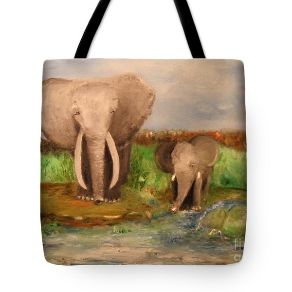 Tote Bag featuring the painting Daddy's Boy by Laurie L
