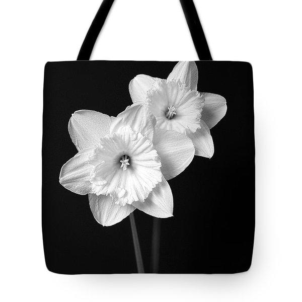 Daffodil Flowers Black And White Tote Bag