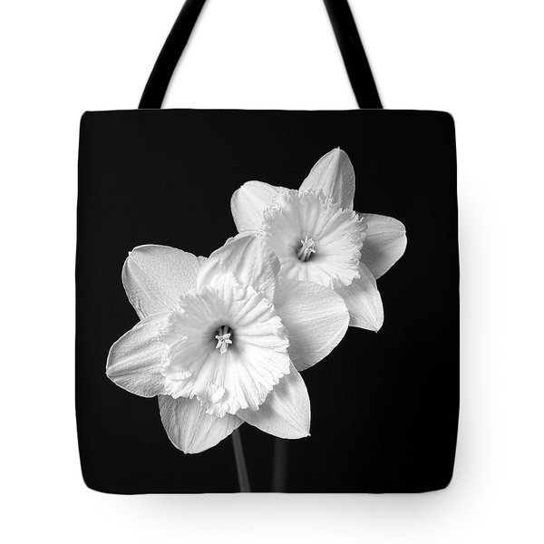 Daffodil Flowers Black And White Tote Bag