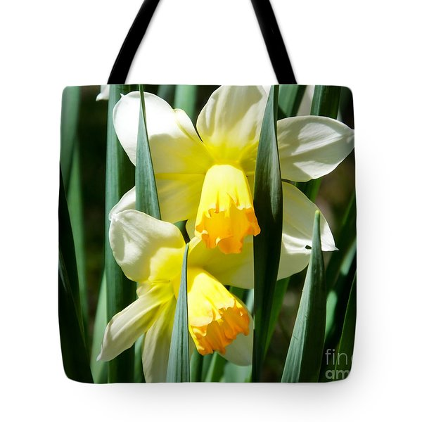 Tote Bag featuring the photograph Daffodil Hug by Kristen Fox