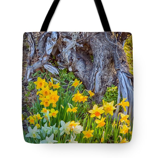 Daffodils And Sculpture Tote Bag by Omaste Witkowski