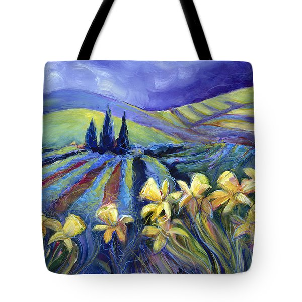 Daffodils And Stormclouds Tote Bag