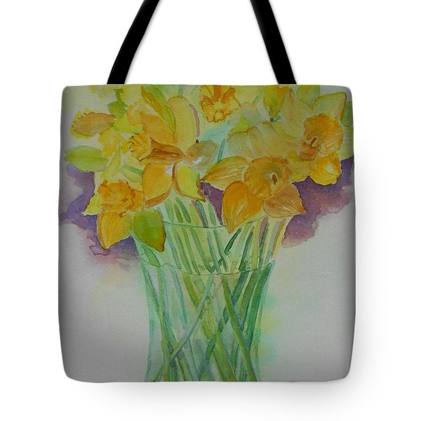 Daffodils In Glass Vase - Watercolor - Still Life Tote Bag