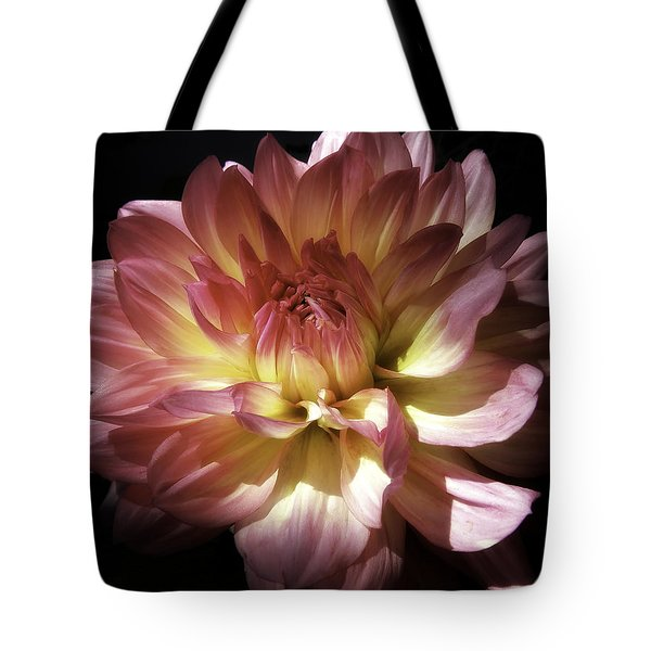 Dahlia Burst Of Pink And Yellow Tote Bag by Julie Palencia