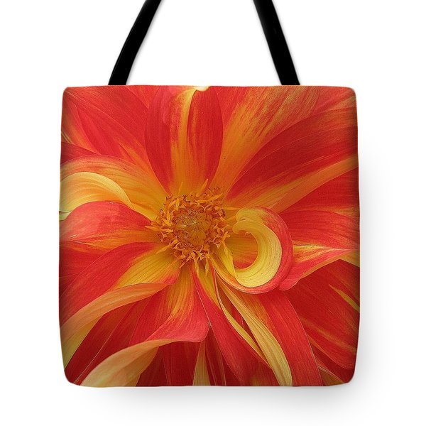 Dahlia Unfurling In Yellow And Red Tote Bag by Dora Sofia Caputo Photographic Art and Design