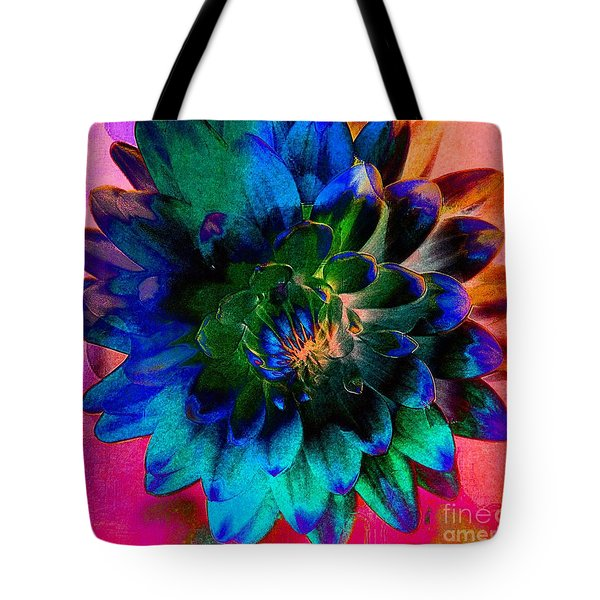 Dahlia With Textures Tote Bag by Kathleen Struckle