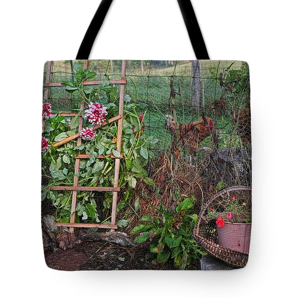 Dahlias And Chickens Tote Bag by Denise Romano