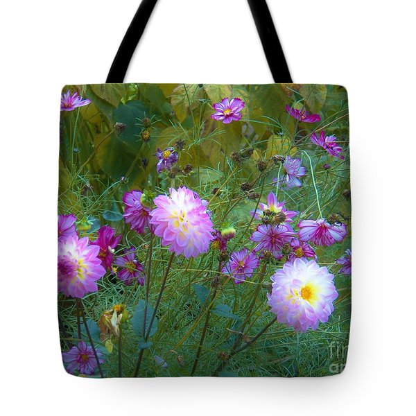 Dahlias And Cosmos  Tote Bag