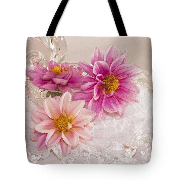 Tote Bag featuring the photograph Dahlias And Lace by Sandra Foster