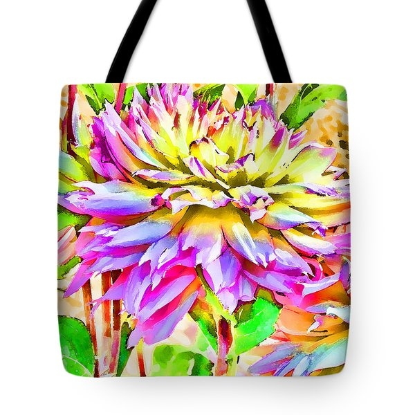 Tote Bag featuring the photograph Dahlias In Digital Watercolor by Sandra Foster