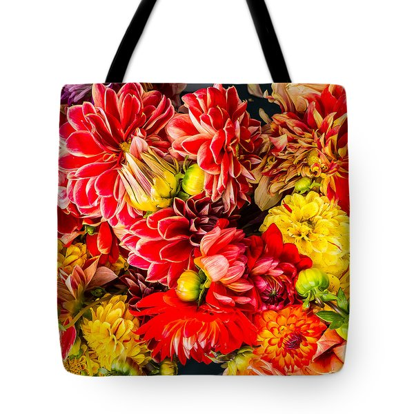 Dahlias Summer Color Tote Bag