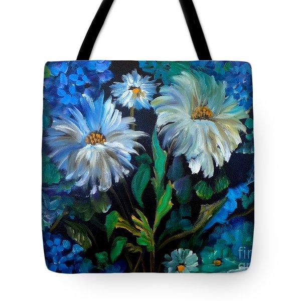 Daisies At Midnight Tote Bag