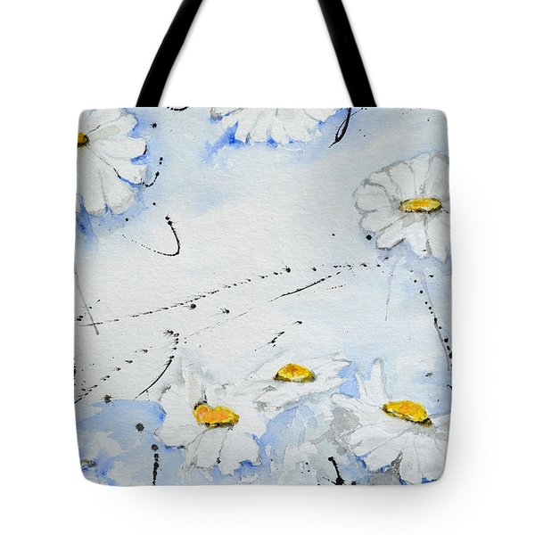 Tote Bag featuring the painting Daisies - Flower by Ismeta Gruenwald