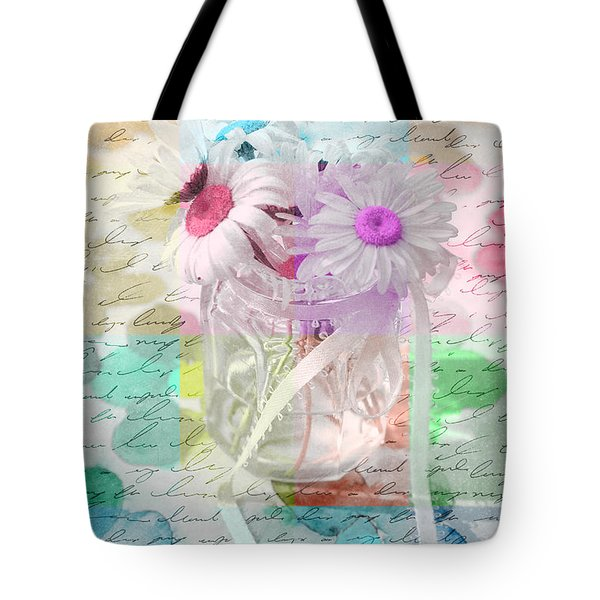 Pot Of Daisies 01a - Du Bonheur En Pot Tote Bag by Variance Collections