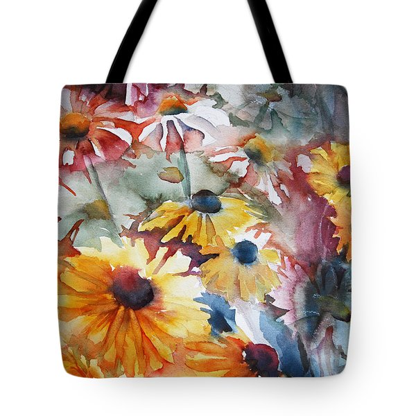 Tote Bag featuring the painting Daisies by Jani Freimann