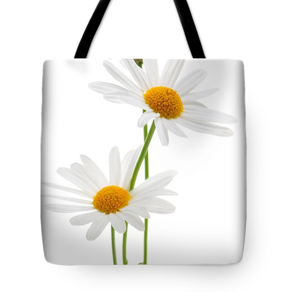 Daisies On White Background Tote Bag by Elena Elisseeva