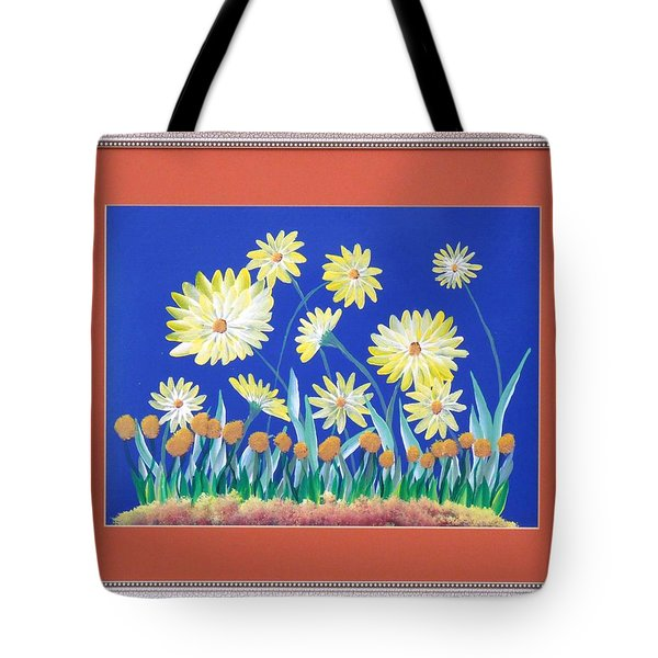 Tote Bag featuring the painting Daisies by Ron Davidson