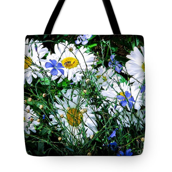 Daisies With Blue Flax And Bee Tote Bag by Roselynne Broussard