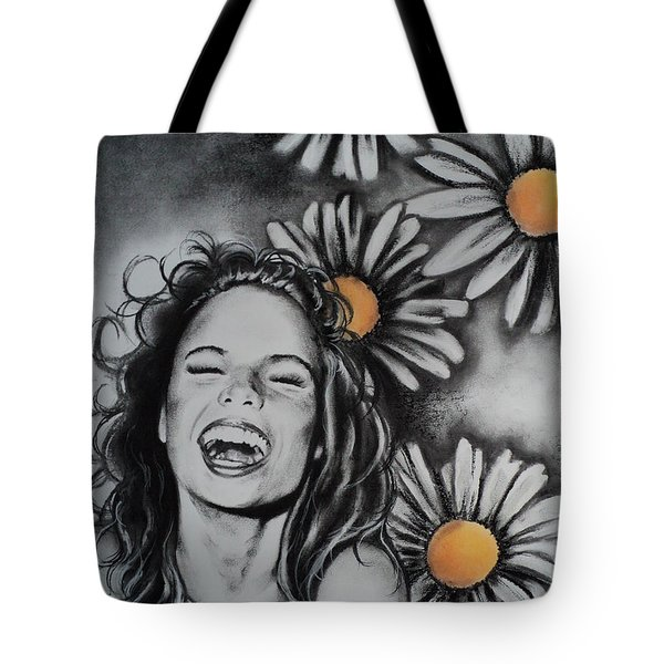 Tote Bag featuring the drawing Daisy by Carla Carson
