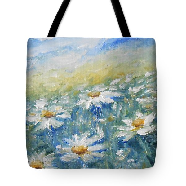 Tote Bag featuring the painting Daisies by Jane  See