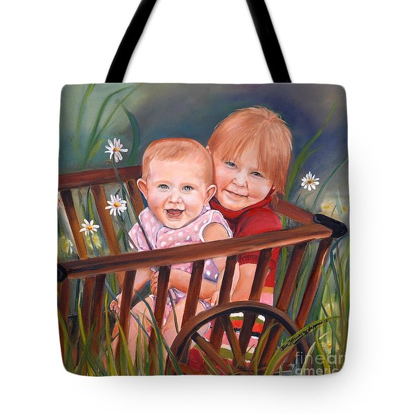 Daisy - Portrait - Girls In Wagon Tote Bag by Jan Dappen