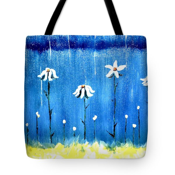 Tote Bag featuring the painting Daisy Rain Blue by Denise Tomasura