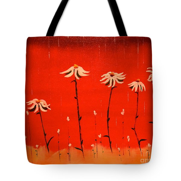 Tote Bag featuring the painting Daisy Rain by Denise Tomasura