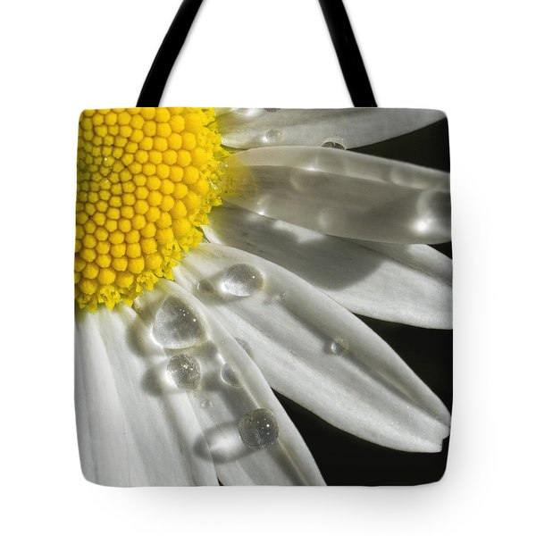 Tote Bag featuring the photograph Daisy With Raindrops by Rob Graham