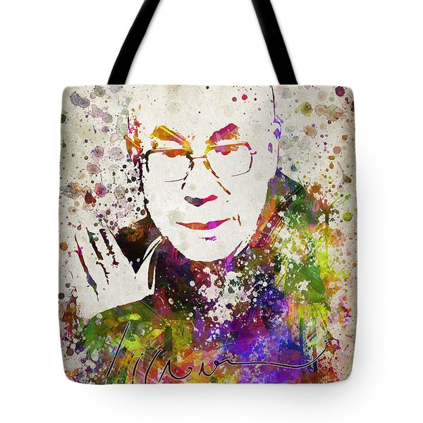 Dalai Lama In Color Tote Bag