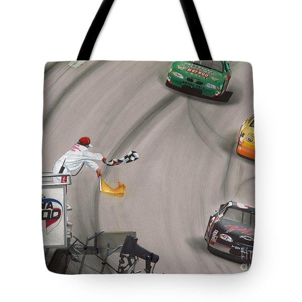 Dale Earnhardt Wins Daytona 500-checkered Flag Tote Bag by Paul Kuras