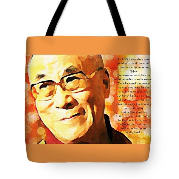 Dali Lama And Man Tote Bag by Barbara Chichester