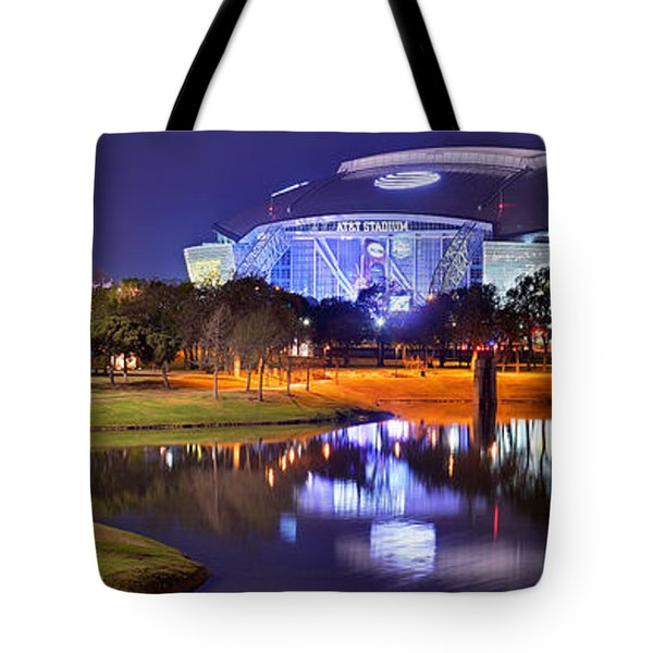 Tote Bag featuring the photograph Dallas Cowboys Stadium At Night Att Arlington Texas Panoramic Photo by Jon Holiday
