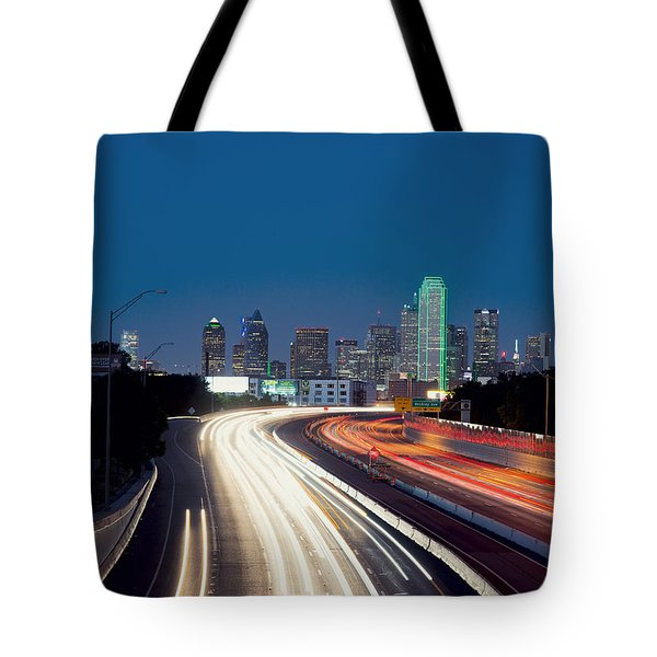 Dallas Night Skyline Light Trails Tote Bag