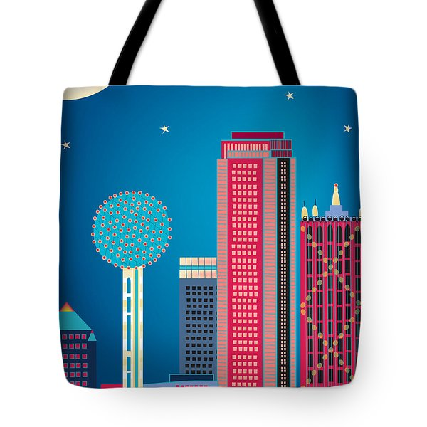 Dallas Nightime Skyline Tote Bag by Karen Young