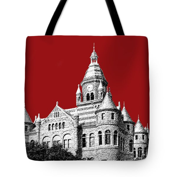Dallas Skyline Old Red Courthouse - Dark Red Tote Bag