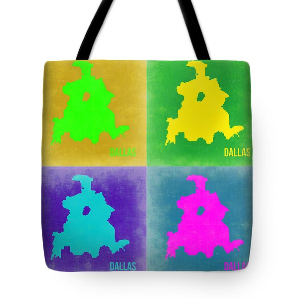 Dallas Pop Art Map 2 Tote Bag by Naxart Studio